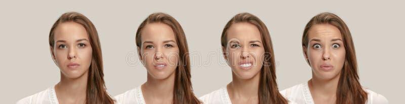 Jovem mulher irritada que sente frustrada com algo Expressões faciais, emoções e sentimentos humanos fotografia de stock royalty free