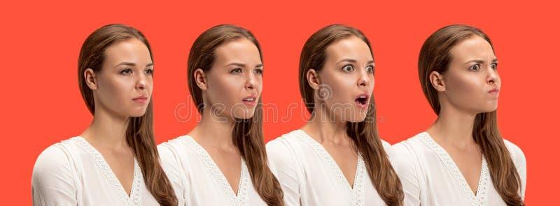 Jovem mulher irritada que sente frustrada com algo Expressões faciais, emoções e sentimentos humanos fotografia de stock