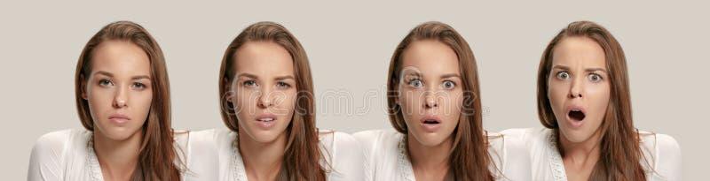 Jovem mulher irritada que sente frustrada com algo Expressões faciais, emoções e sentimentos humanos fotos de stock royalty free