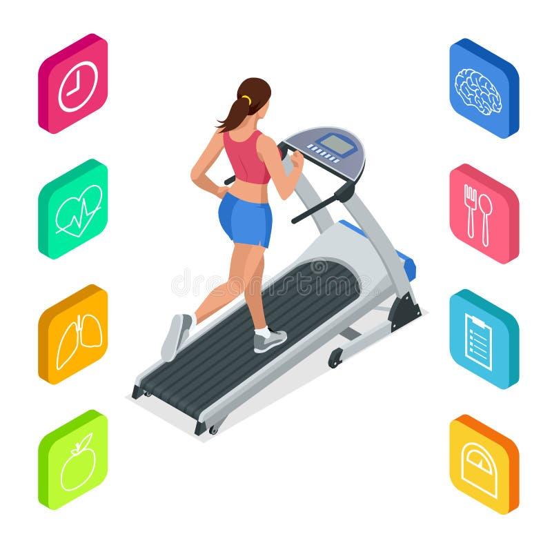 Jovem mulher isométrica no sportswear que corre na escada rolante no gym Ícones da aptidão e da saúde Máquina ou trilha running ilustração royalty free