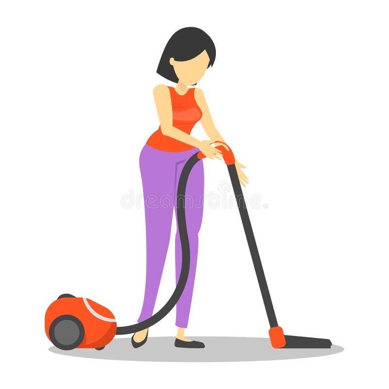 A jovem mulher limpa a casa com o aspirador de p30 ilustração stock