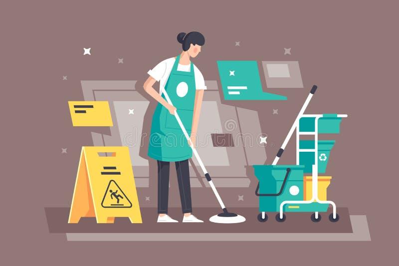 Jovem mulher lisa no trabalho em serviços de limpeza com equipamento especial ilustração stock