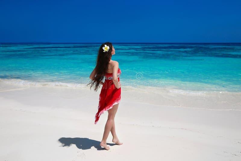 A jovem mulher livre bonita relaxa no mar exótico, SMI da morena fotos de stock