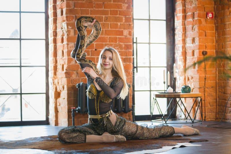 Jovem mulher magro que executa a dança com uma serpente no studia foto de stock royalty free