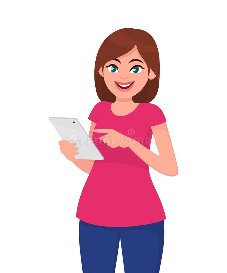 Jovem mulher/menina que guarda o tablet pc Mulher bonito que usa o PC da tabuleta ilustração do vetor
