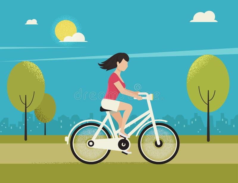 A jovem mulher monta a bicicleta branca ilustração do vetor
