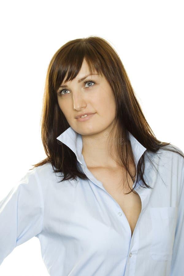 Jovem mulher na camisa de um homem fotos de stock