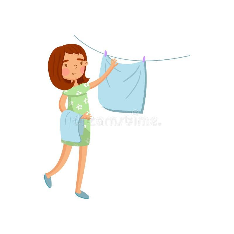 Jovem mulher na roupa ocasional que pendura a roupa molhada para fora para secar, dona de casa no vetor dos desenhos animados da  ilustração royalty free