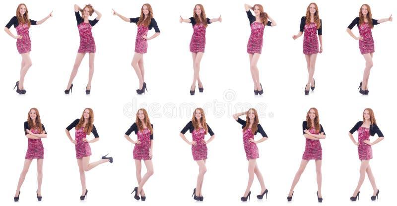 A jovem mulher no conceito da forma no branco imagens de stock royalty free