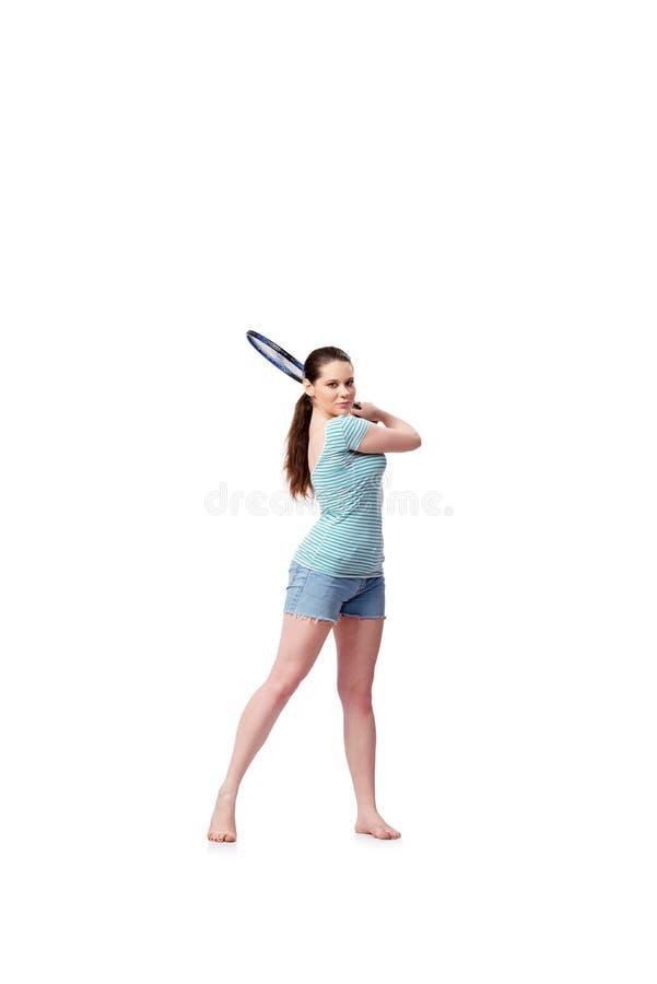 A jovem mulher no conceito dos esportes isolada no branco fotografia de stock royalty free