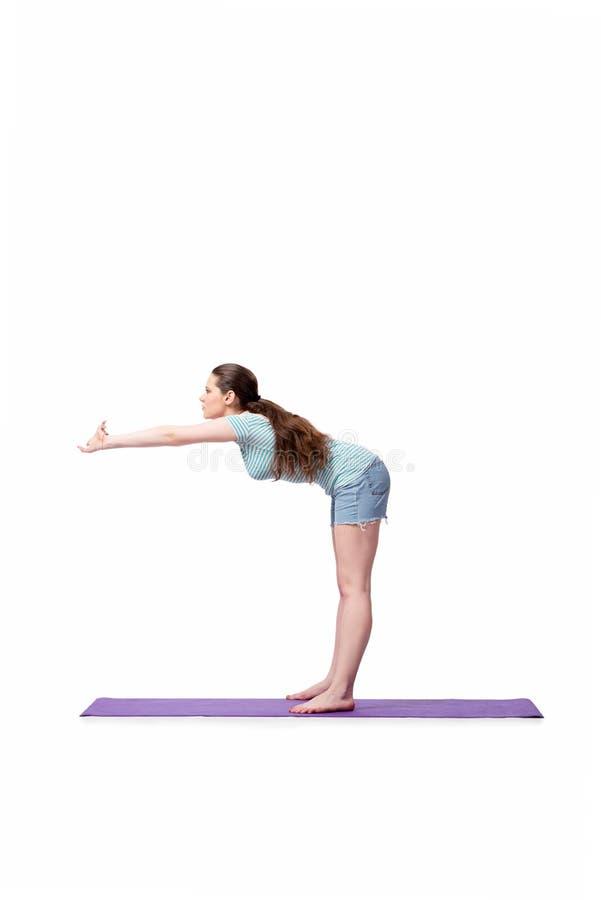 A jovem mulher no conceito dos esportes isolada no branco fotos de stock
