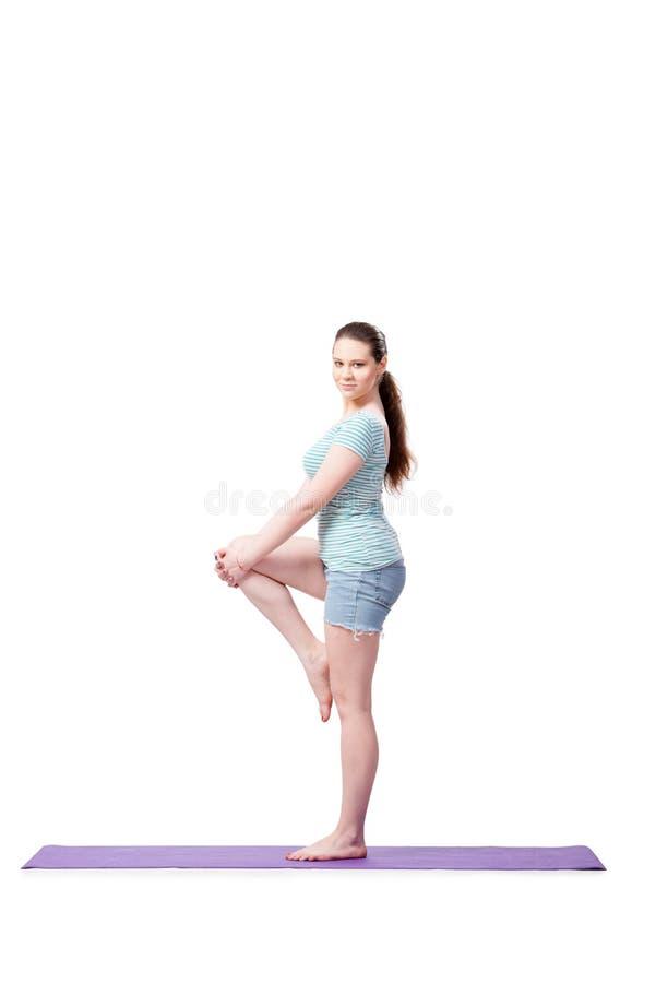 A jovem mulher no conceito dos esportes isolada no branco foto de stock royalty free