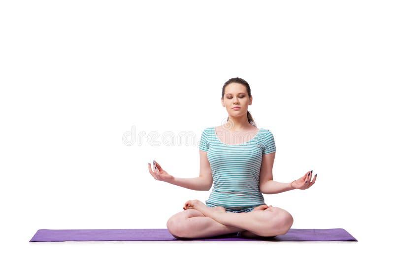 A jovem mulher no conceito dos esportes isolada no branco fotografia de stock