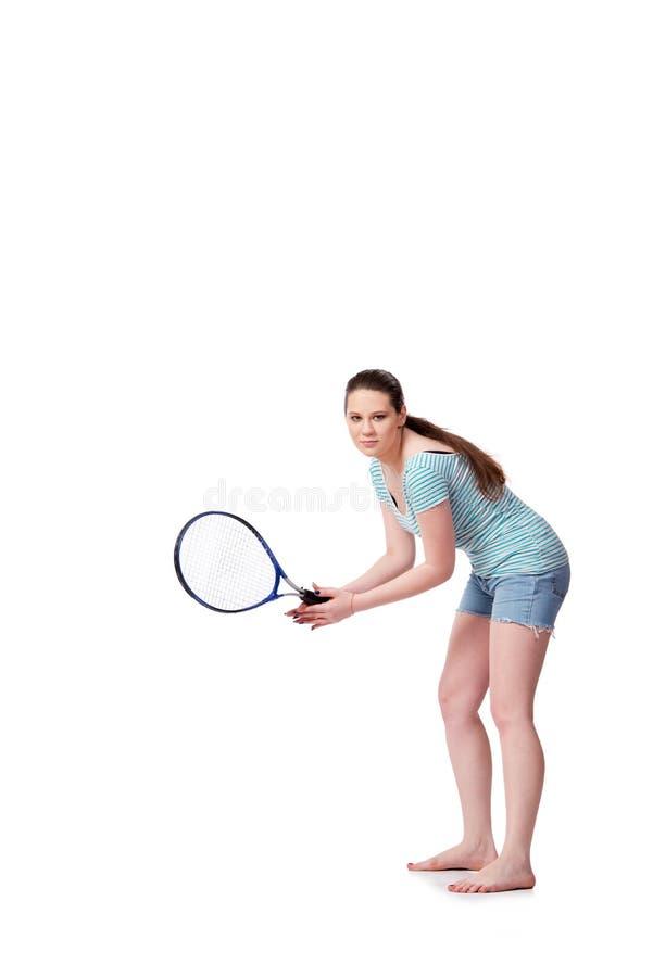 A jovem mulher no conceito dos esportes isolada no branco imagens de stock
