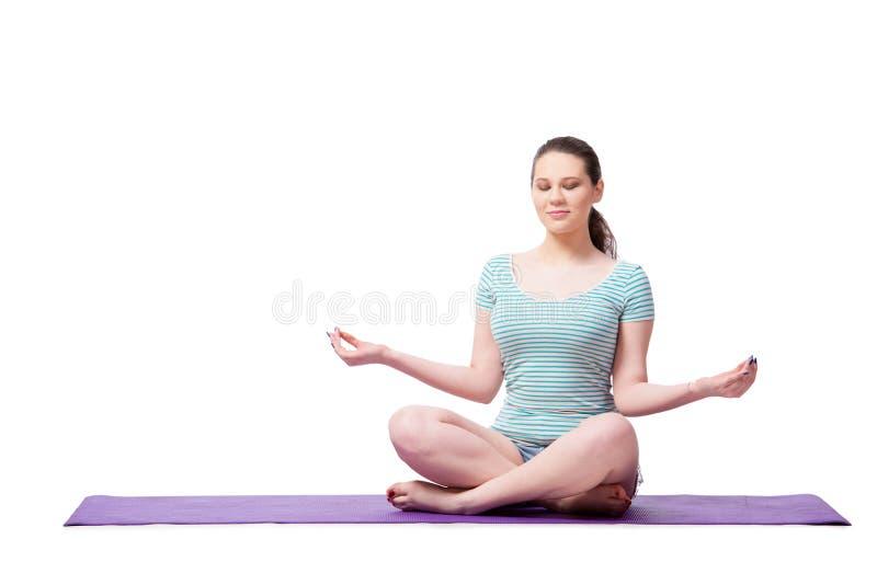 A jovem mulher no conceito dos esportes isolada no branco foto de stock