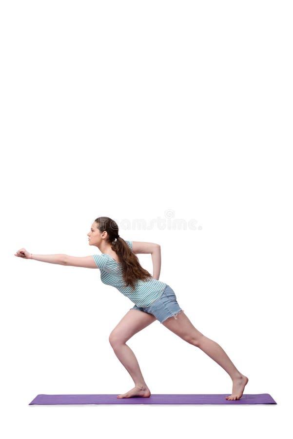 A jovem mulher no conceito dos esportes isolada no branco fotos de stock royalty free