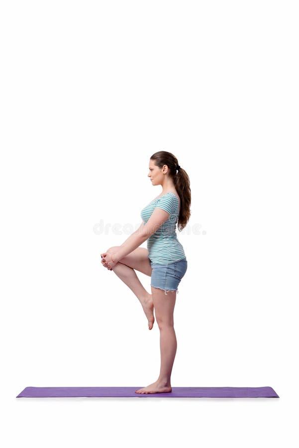 A jovem mulher no conceito dos esportes no branco foto de stock royalty free