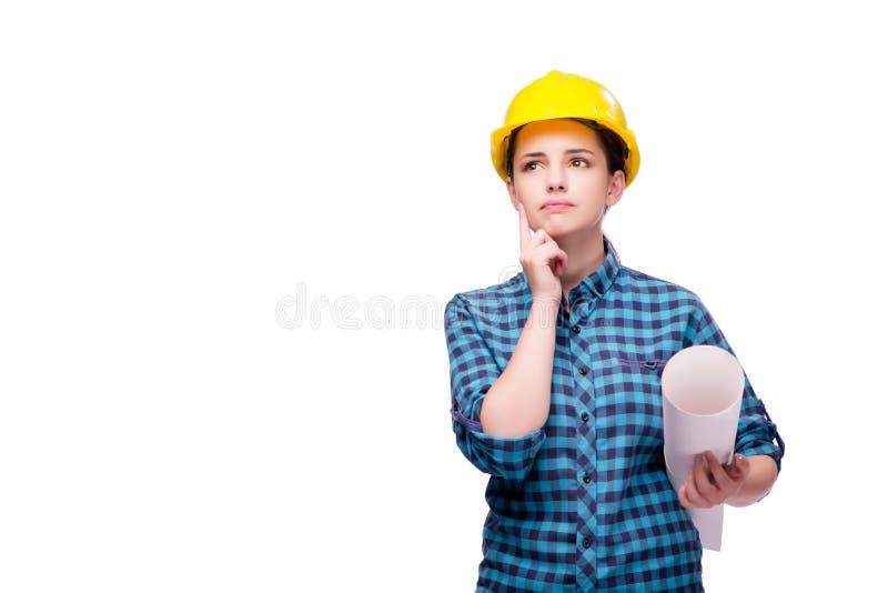 A jovem mulher no conceito industrial isolada no branco fotos de stock