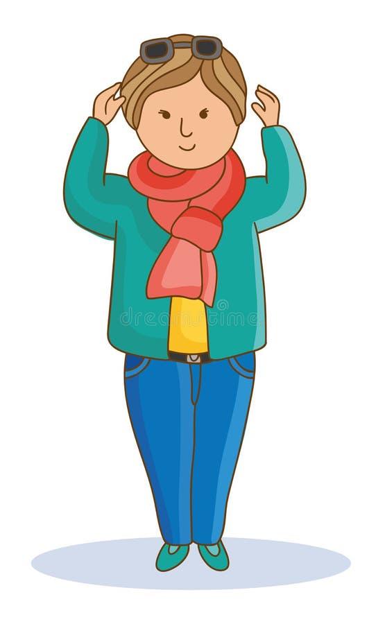 Jovem mulher no lenço nas calças de brim e na camiseta, vidros na cabeça ilustração stock