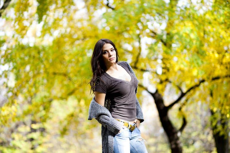 Jovem mulher no parque do outono fotos de stock