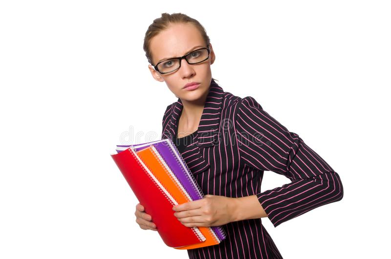 A jovem mulher no traje roxo com notas fotos de stock