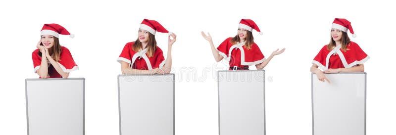 A jovem mulher no traje vermelho de Santa no branco foto de stock royalty free