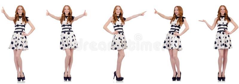 Jovem mulher no vestido do ?s bolinhas isolado no branco imagens de stock royalty free