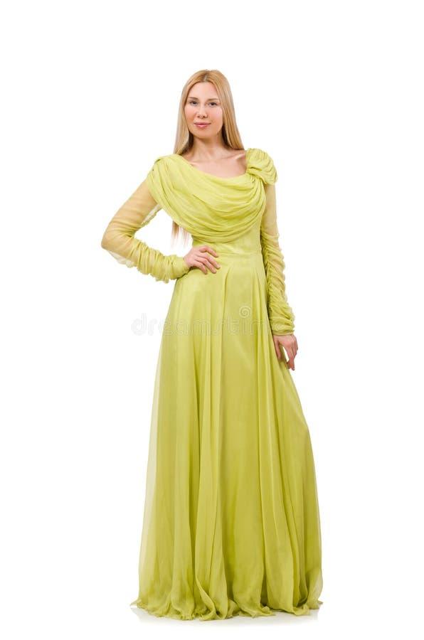 A jovem mulher no vestido elegante do verde longo isolado no branco imagens de stock