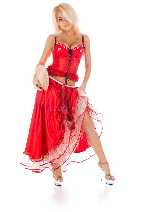 Jovem mulher no vestido vermelho longo foto de stock royalty free