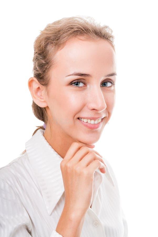Jovem mulher no vestuário do escritório. fotografia de stock