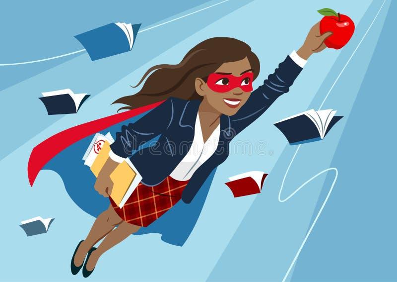 Jovem mulher no voo do cabo e da máscara através do ar na posição do super-herói ilustração stock
