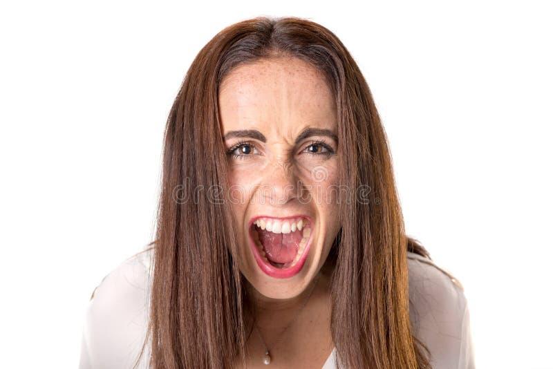 Jovem mulher ocasional irritada fotografia de stock