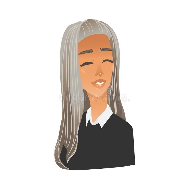 Jovem mulher ofendida virada no estilo liso dos desenhos animados ilustração royalty free