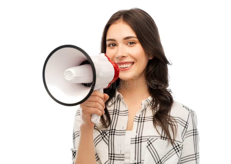 Jovem mulher ou adolescente com megafone imagem de stock
