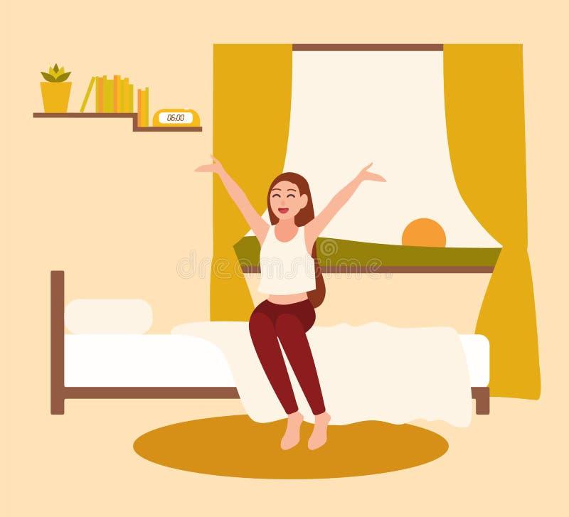 Jovem mulher ou menina feliz que acordam com o sol de aumentação no amanhecer Personagem de banda desenhada fêmea de sorriso que  ilustração do vetor
