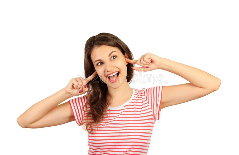 A jovem mulher pateta engraçada com erro eyes fazer caretas, tendo a expressão facial estúpida e ridícula menina emocional isolad foto de stock royalty free