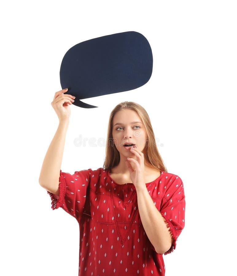 Jovem mulher pensativa com bolha vazia do discurso no fundo branco imagens de stock royalty free