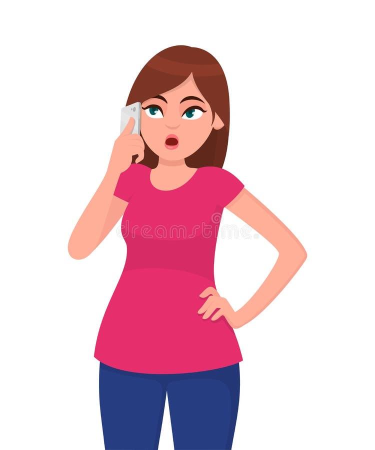 Jovem mulher pensativa e bonita que fala no telefone esperto ao guardar a mão no quadril, na vista acima e no pensamento ilustração royalty free