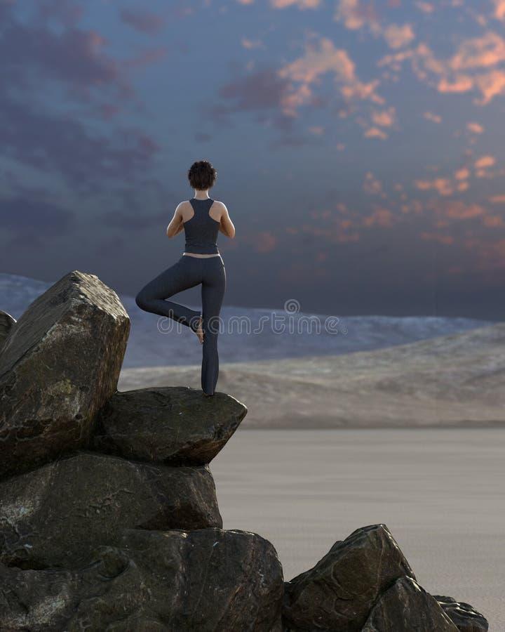 A jovem mulher pratica a ioga no deserto no por do sol fotografia de stock