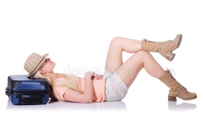 Jovem mulher pronta para férias de verão imagem de stock