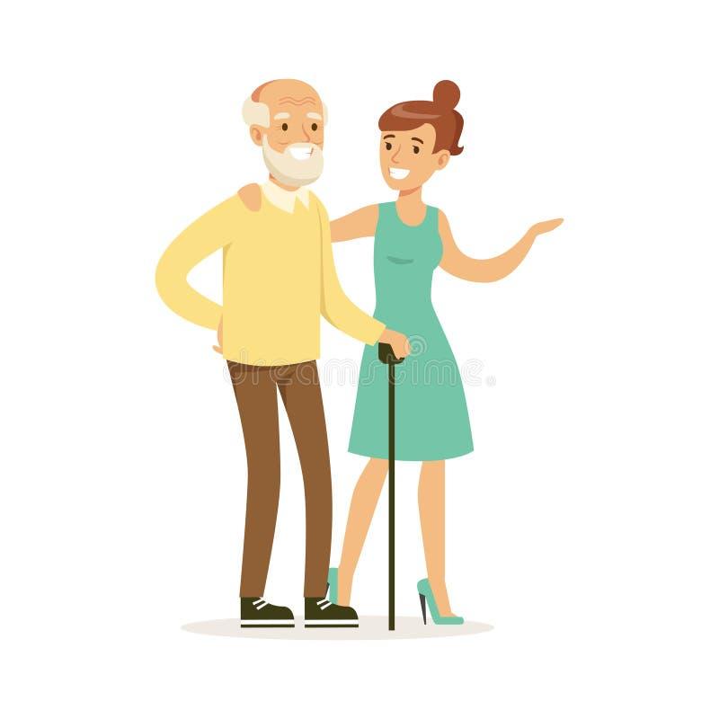 Jovem mulher que ajuda e que apoia o homem idoso, o auxílio dos cuidados médicos e a ilustração colorida do vetor da acessibilida ilustração royalty free