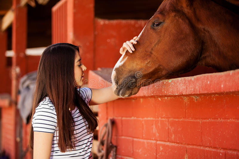 Jovem mulher que ama seu cavalo fotos de stock royalty free