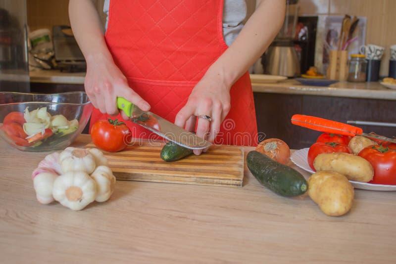 Jovem mulher que cozinha na cozinha Imagem colhida de vegetais do corte da mo?a para o alimento O cozinheiro chefe corta os veget foto de stock royalty free