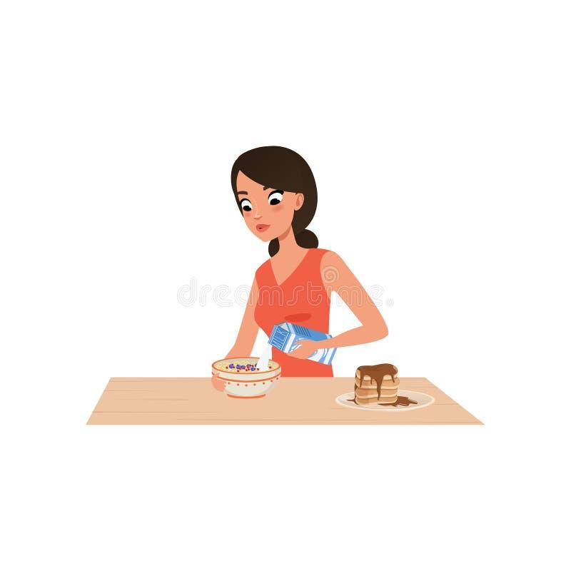 Jovem mulher que cozinha o papa de aveia para o café da manhã, menina que prepara a refeição na ilustração do vetor da cozinha em ilustração do vetor