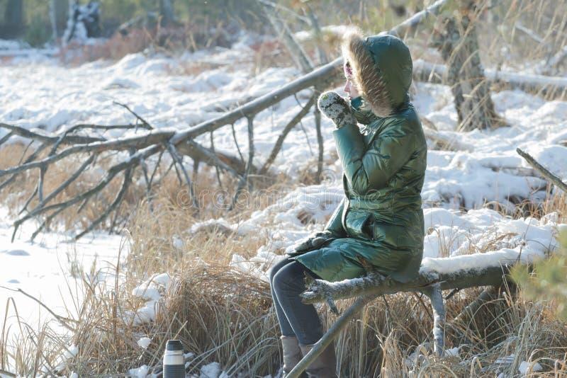 Jovem mulher que descansa na madeira nevado do inverno com garrafa térmica do turista fora fotografia de stock