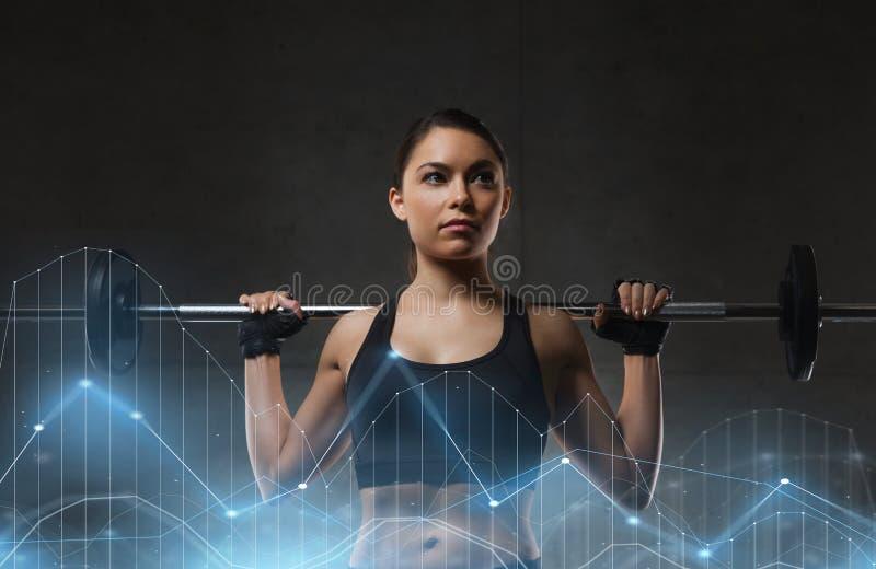 Jovem mulher que dobra os músculos com o barbell no gym fotografia de stock