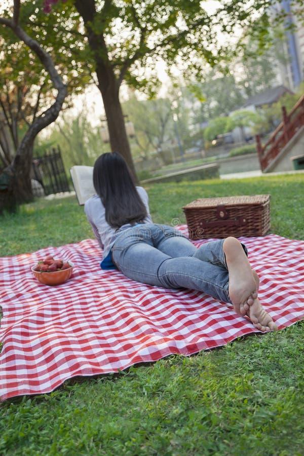 Jovem mulher que encontra-se em seu estômago em uma cobertura quadriculado e que lê no parque, tendo um piquenique imagens de stock royalty free