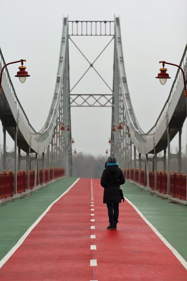 Jovem mulher que está e que espera em um dia nevoento chuvoso na ponte pedestre do centro da cidade de Kyiv imagens de stock royalty free