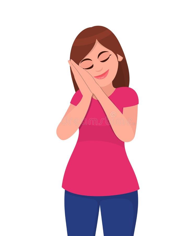 A jovem mulher que está e sonho cansado do sono com seus olhos fechou-se Mulheres que fingem dormir e que fazem o gesto ilustração do vetor