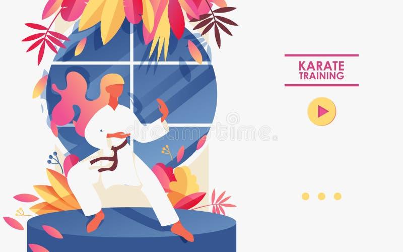 Jovem mulher que exercita no quimono branco Posição básica no karaté, decorado com hortaliças e a janela redonda brilhante P?gina ilustração do vetor